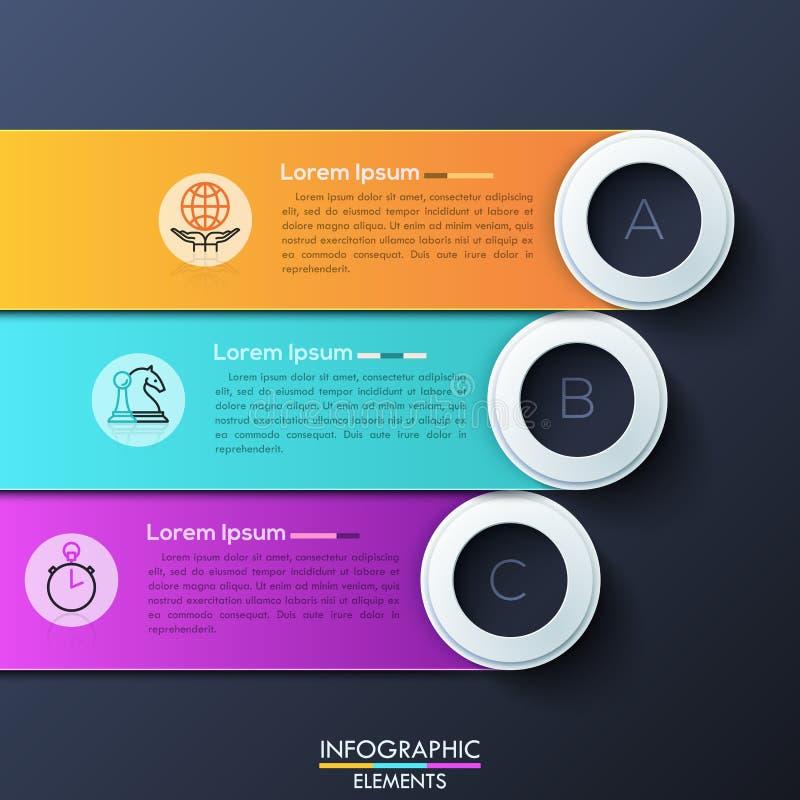 Modello infographic moderno di progettazione con 3 rettangoli arrotondati di sovrapposizione royalty illustrazione gratis