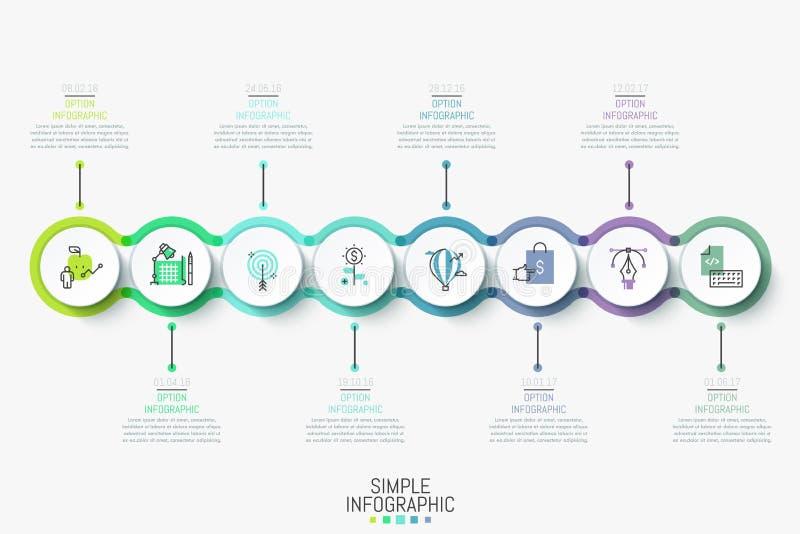 Modello infographic moderno di progettazione Cronologia orizzontale variopinta con 8 elementi, icone e caselle di testo rotondi illustrazione di stock