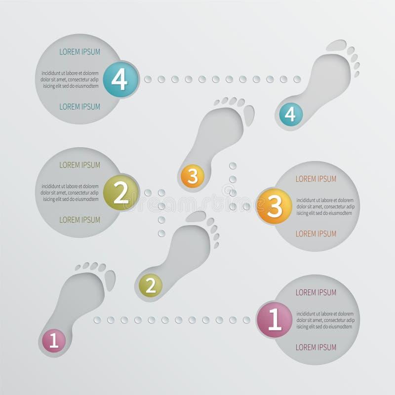 Modello infographic perforato di vettore di quattro punti illustrazione vettoriale