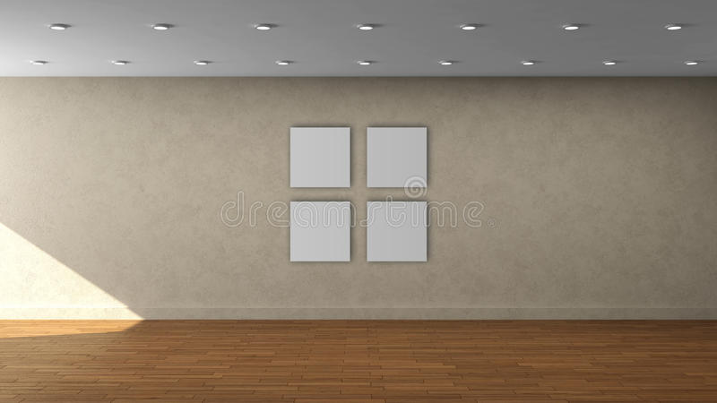 Modello interno vuoto della parete beige di alta risoluzione con la struttura del quadrato di colore di 4 bianchi sulla parete an fotografie stock