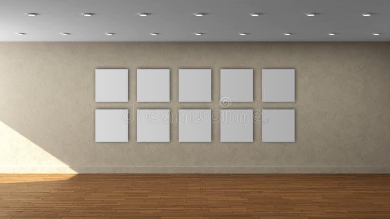 Modello interno vuoto della parete beige di alta risoluzione con la struttura del quadrato di colore di 10 bianchi sulla parete a fotografia stock libera da diritti