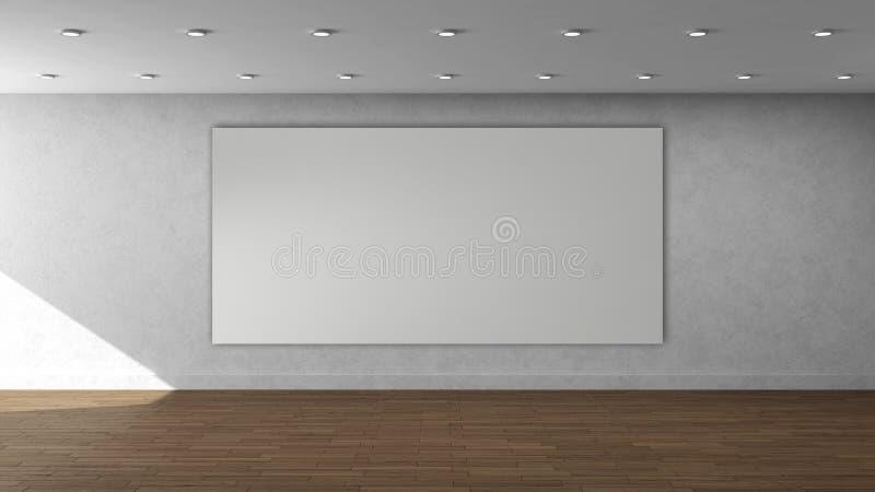 Modello interno vuoto della parete bianca di alta risoluzione con la struttura rettangolare di grande colore bianco sulla parete  fotografia stock libera da diritti