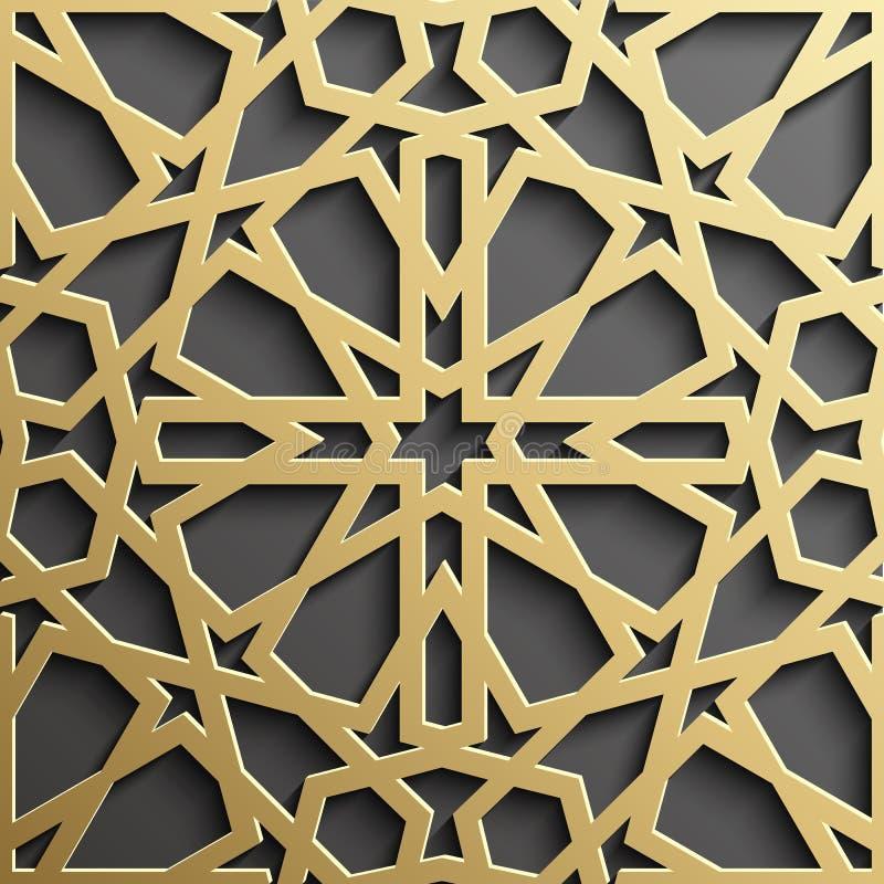 Modello islamico senza cuciture 3d Elemento arabo tradizionale di progettazione royalty illustrazione gratis
