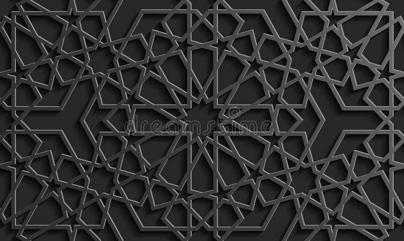 Modello islamico senza cuciture 3d Elemento arabo tradizionale di progettazione illustrazione vettoriale