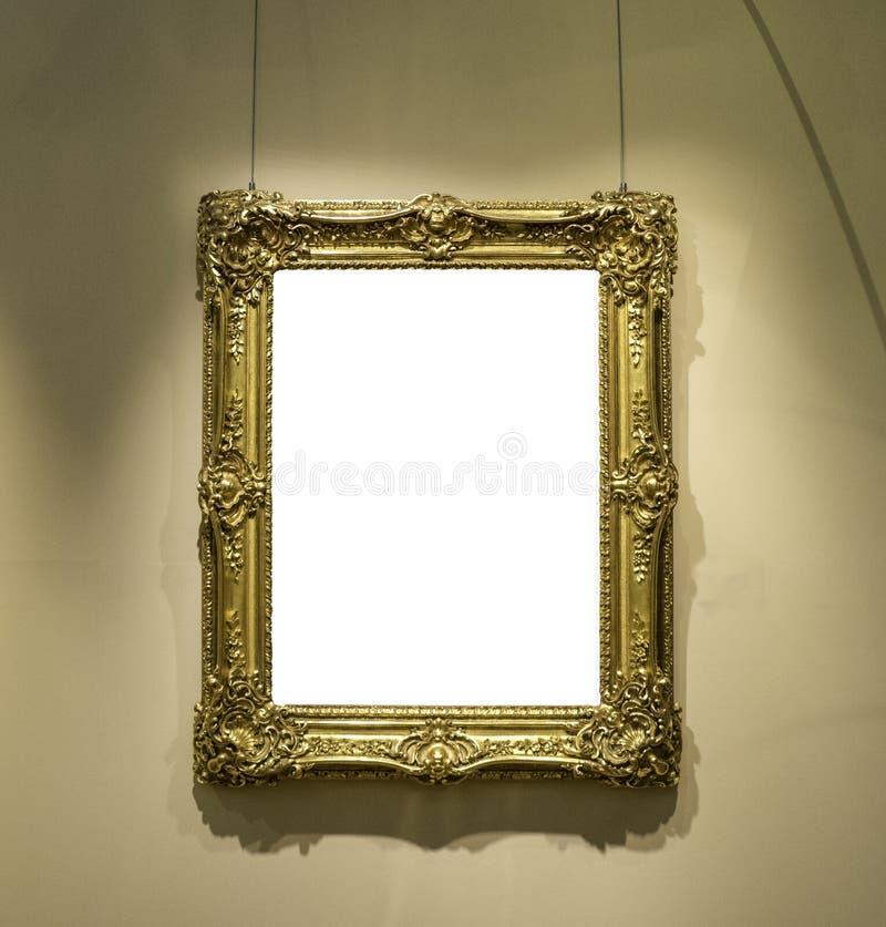 Modello isolato bianco minimo del percorso di ritaglio di progettazione di Art Museum Frame Wall Ornate fotografie stock
