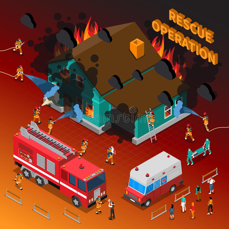 Modello isometrico del vigile del fuoco illustrazione di stock