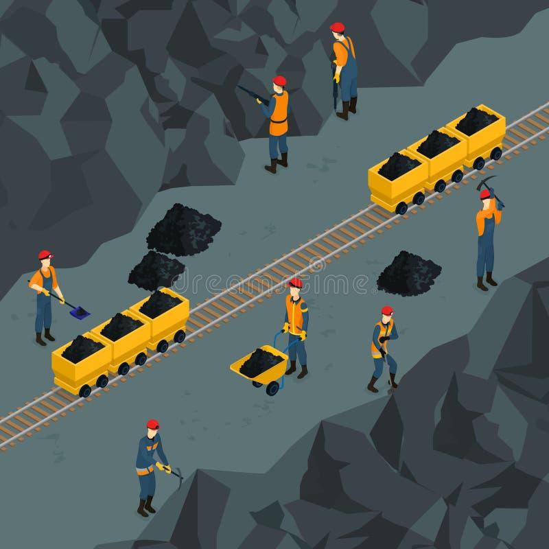 Modello isometrico di industria carboniera illustrazione vettoriale