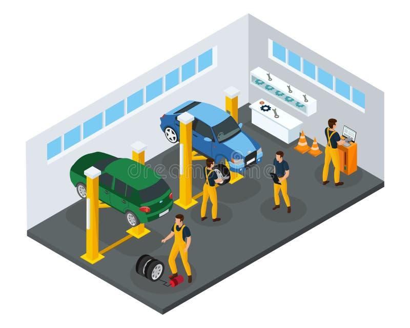 Modello isometrico di servizio di riparazione dell'automobile illustrazione vettoriale