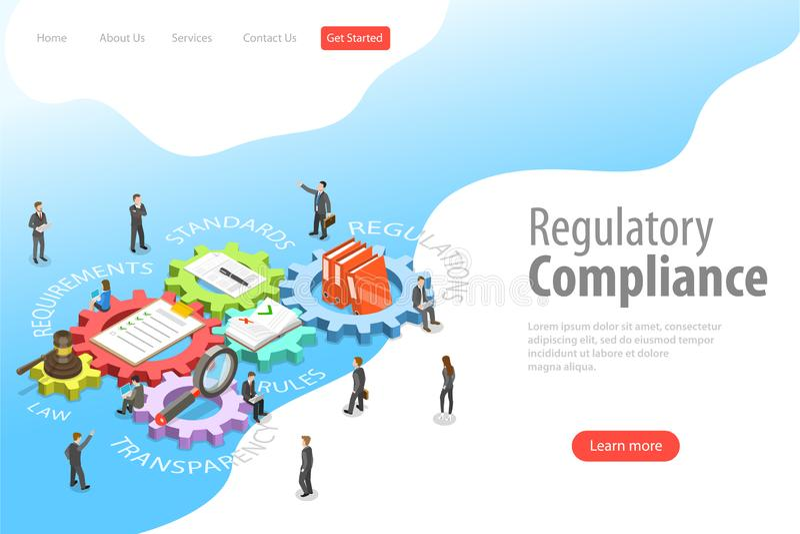 Modello isometrico piano della pagina di atterraggio di vettore di conformità normativa royalty illustrazione gratis