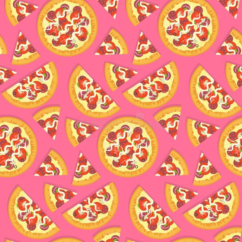 Modello italiano saporito piano della pizza sul rosa royalty illustrazione gratis