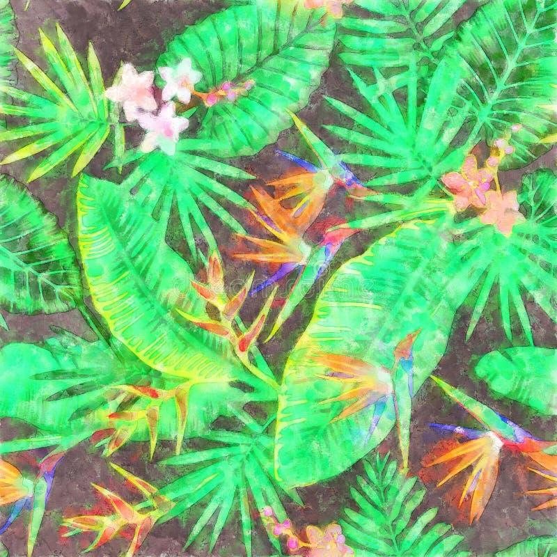 Modello Jungl tropicale di Gray Tropical Flowers Silhouettes Wedding illustrazione vettoriale
