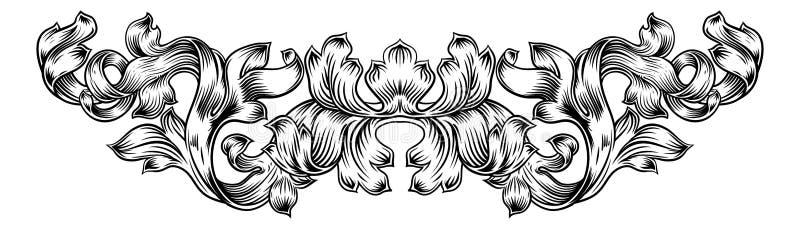 Modello Laurel Filigree Leaf Baroque Motif del rotolo royalty illustrazione gratis