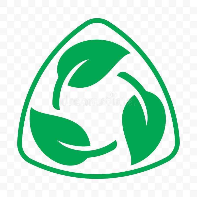 Modello libero di plastica riciclabile biodegradabile dell'icona del pacchetto Bio- etichetta degradabile riciclabile di vettore illustrazione vettoriale