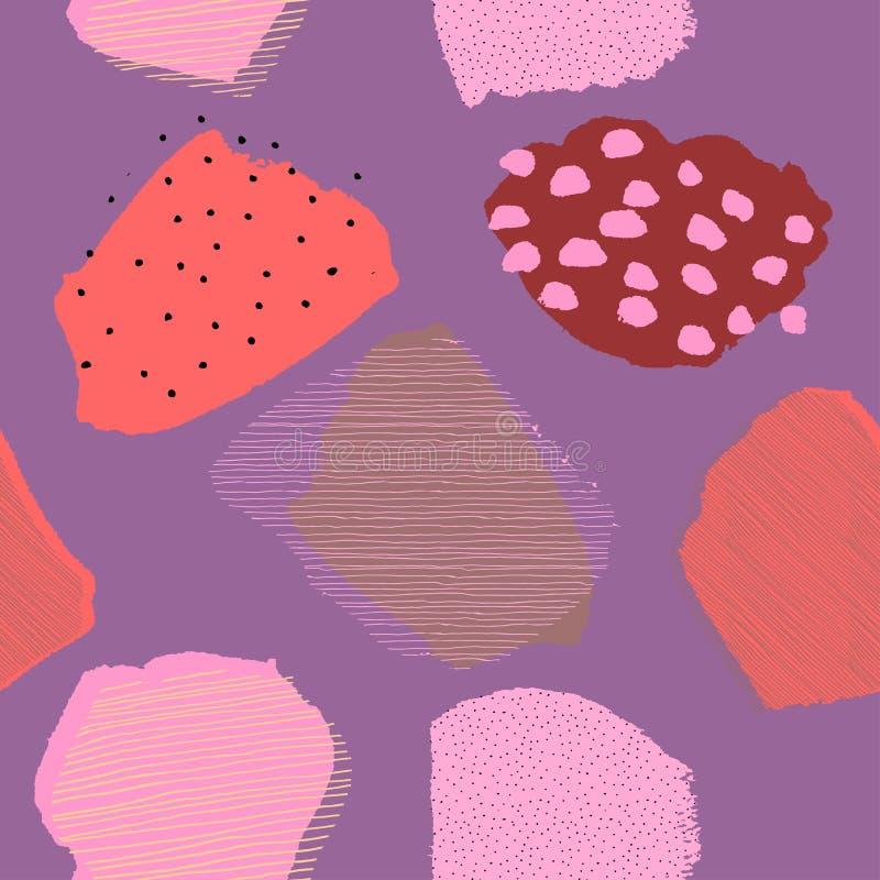 Modello lilla senza cuciture delle bacche astratte contemporanee del collage illustrazione vettoriale