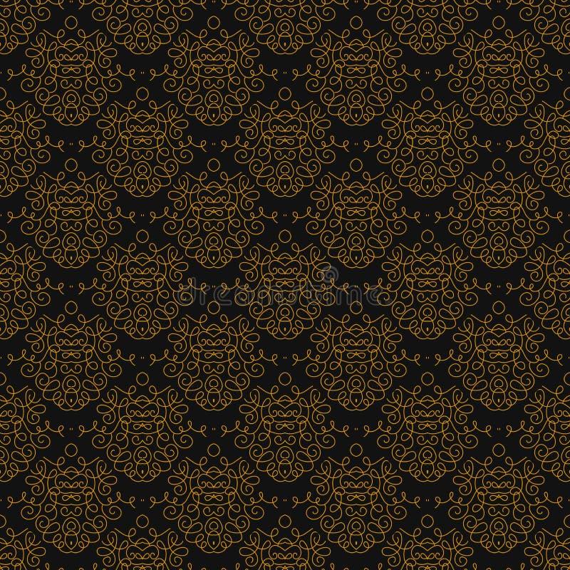 Modello lineare d'annata del damasco con le linee dell'oro illustrazione vettoriale