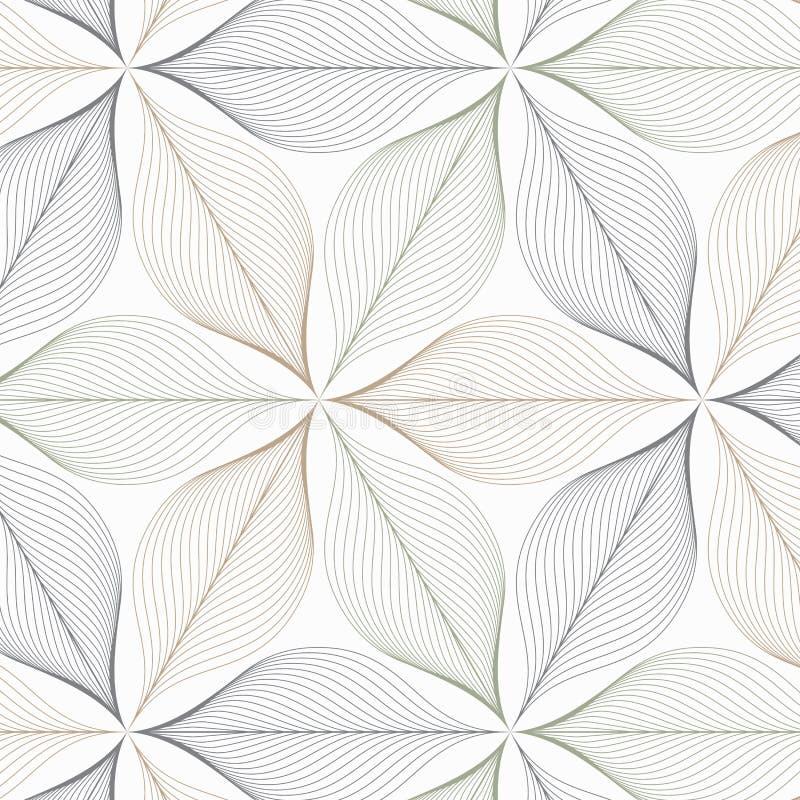 Modello lineare di vettore che ripete le foglie o il fiore dell'estratto o flora nel colore di tono due su forma di esagono Pulis royalty illustrazione gratis