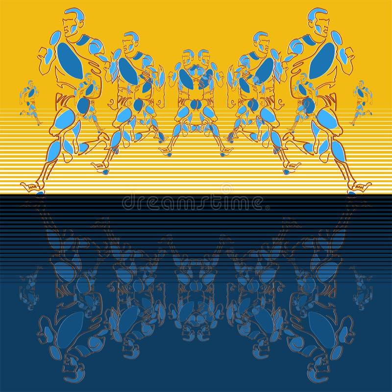Modello lineare di vettore delle figure stilizzate degli atleti illustrazione vettoriale