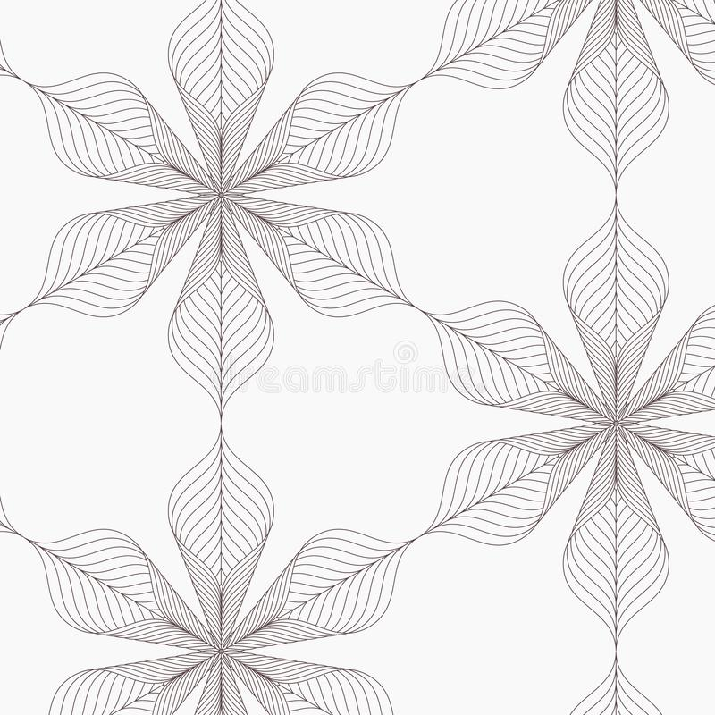 Modello lineare di vettore, ripetente le foglie astratte, linea grigia di foglia o fiore, floreale grafico pulisca la progettazio illustrazione vettoriale