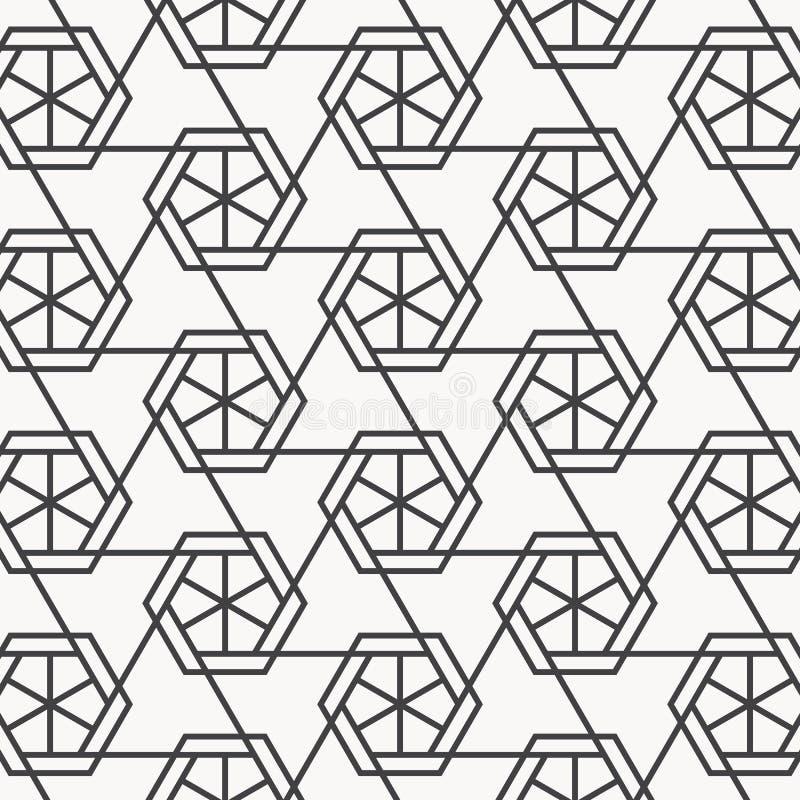 Modello lineare di vettore Ripetizione della griglia triangolare geometrica su forma di esagono illustrazione di stock