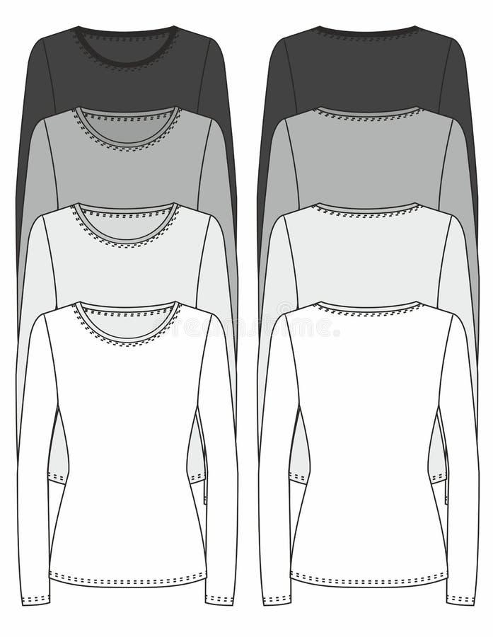 Modello Long-sleeved di disegno della maglietta illustrazione di stock