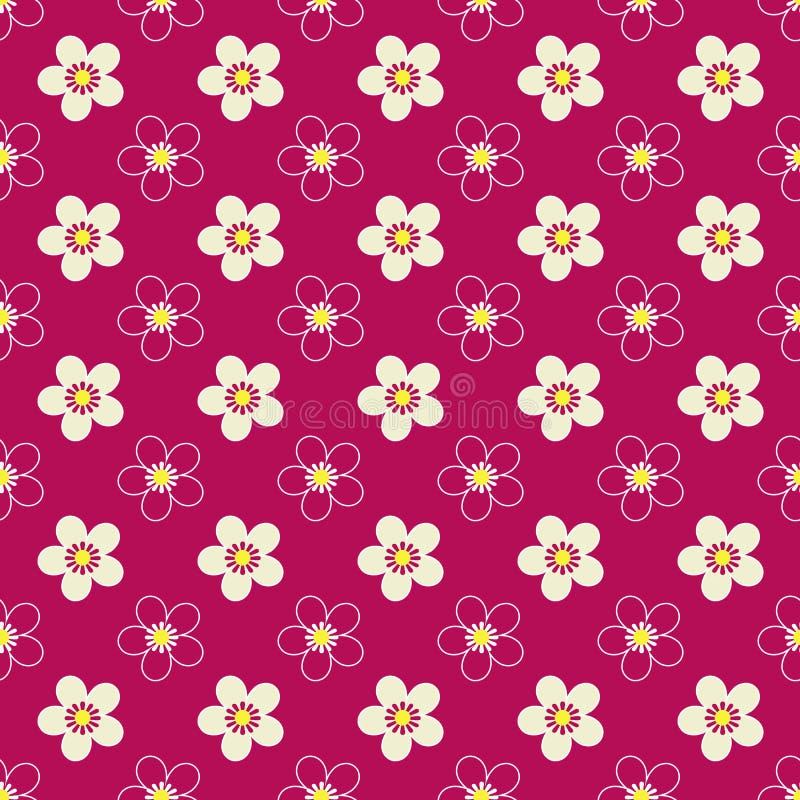 Modello luminoso dei bambini floreali senza cuciture su rosso royalty illustrazione gratis