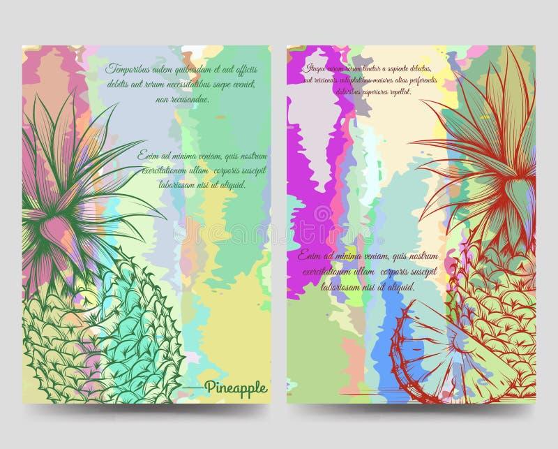 Modello luminoso dell'aletta di filatoio dell'opuscolo degli ananas illustrazione vettoriale