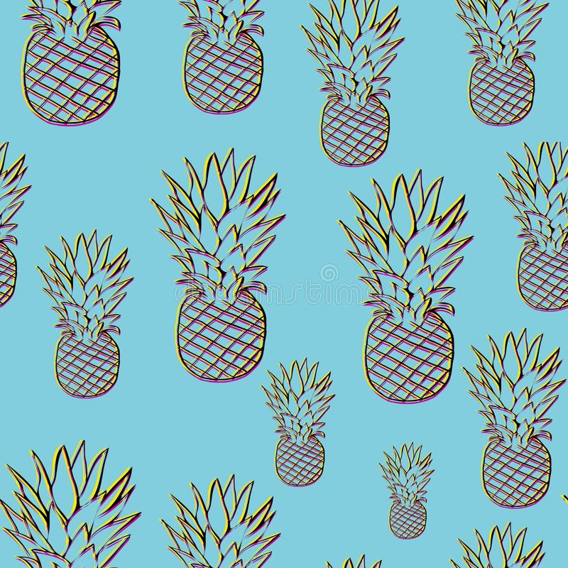 Modello luminoso dell'ananas nello stile 3d fotografia stock