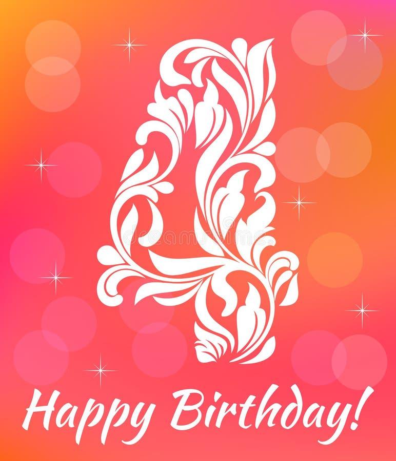 Modello luminoso dell'invito della cartolina d'auguri Celebrando 4 anni di compleanno Fonte tipografica decorativa illustrazione vettoriale