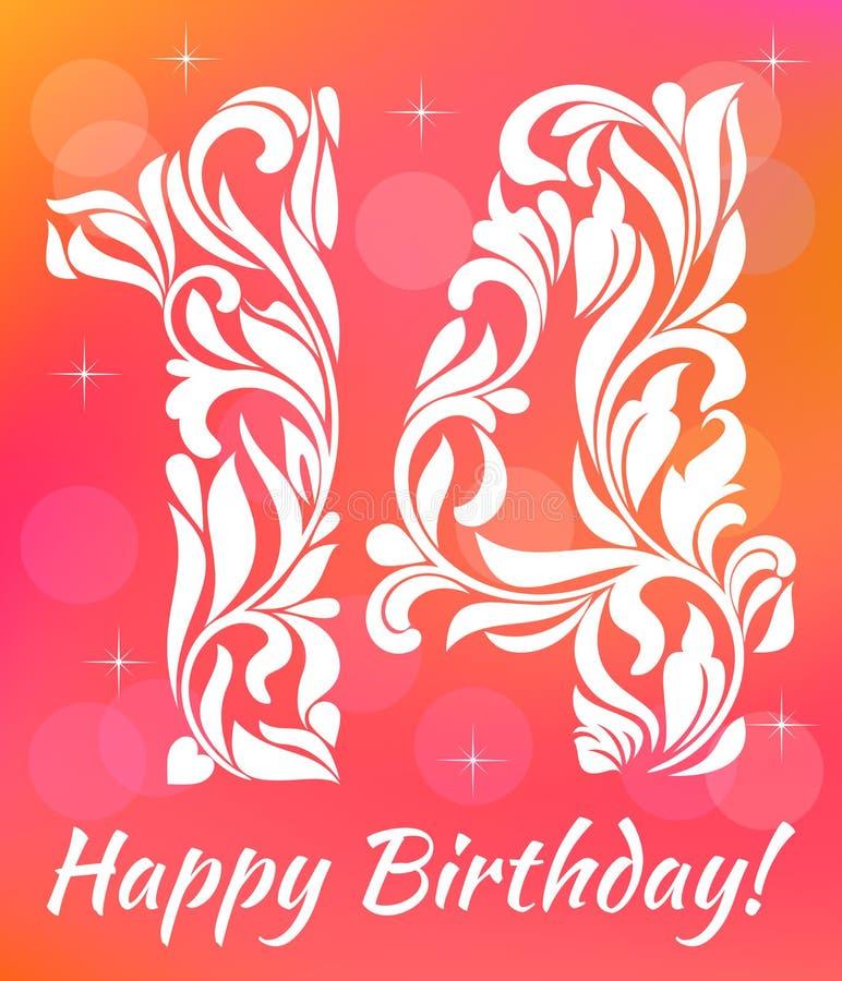 Modello luminoso dell'invito della cartolina d'auguri Celebrando 14 anni di compleanno Fonte tipografica decorativa illustrazione vettoriale