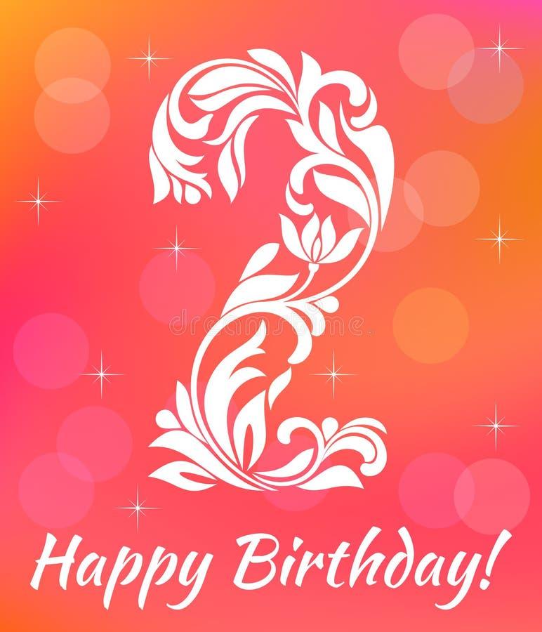Modello luminoso dell'invito della cartolina d'auguri Celebrando 2 anni di compleanno Fonte tipografica decorativa royalty illustrazione gratis