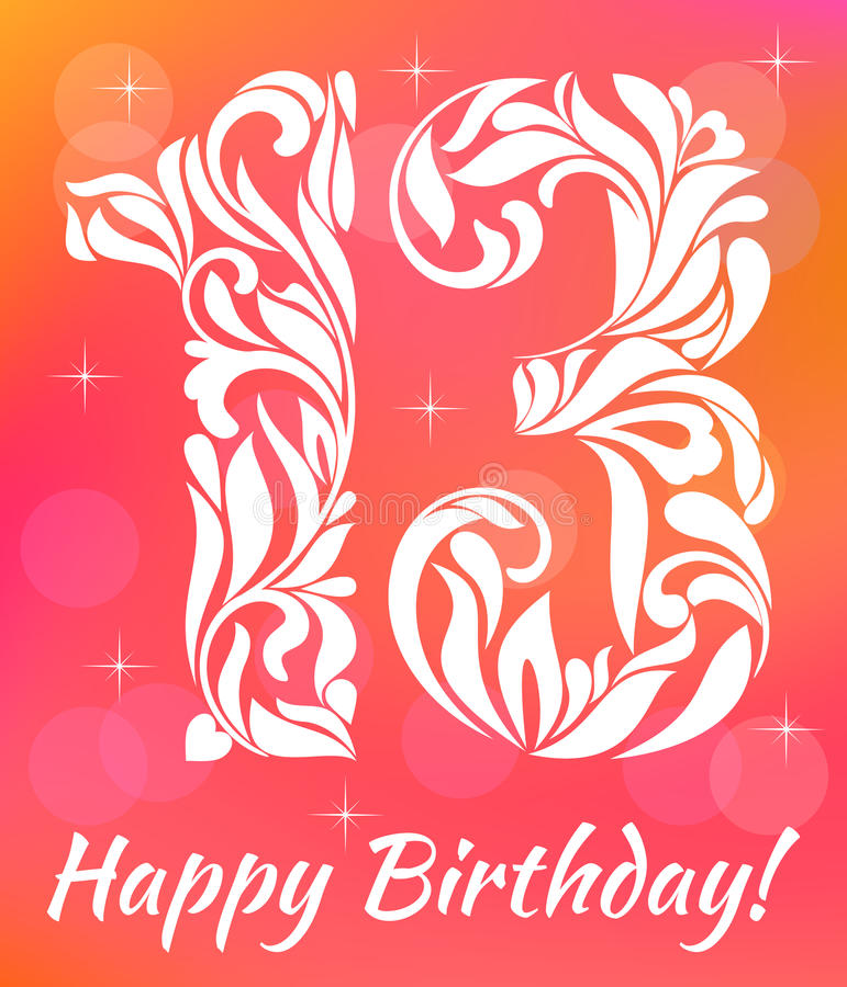 Modello luminoso dell'invito della cartolina d'auguri Celebrando 13 anni di compleanno Fonte tipografica decorativa illustrazione vettoriale