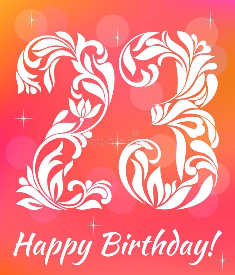 Modello luminoso dell'invito della cartolina d'auguri Celebrando 23 anni di compleanno Fonte tipografica decorativa illustrazione di stock