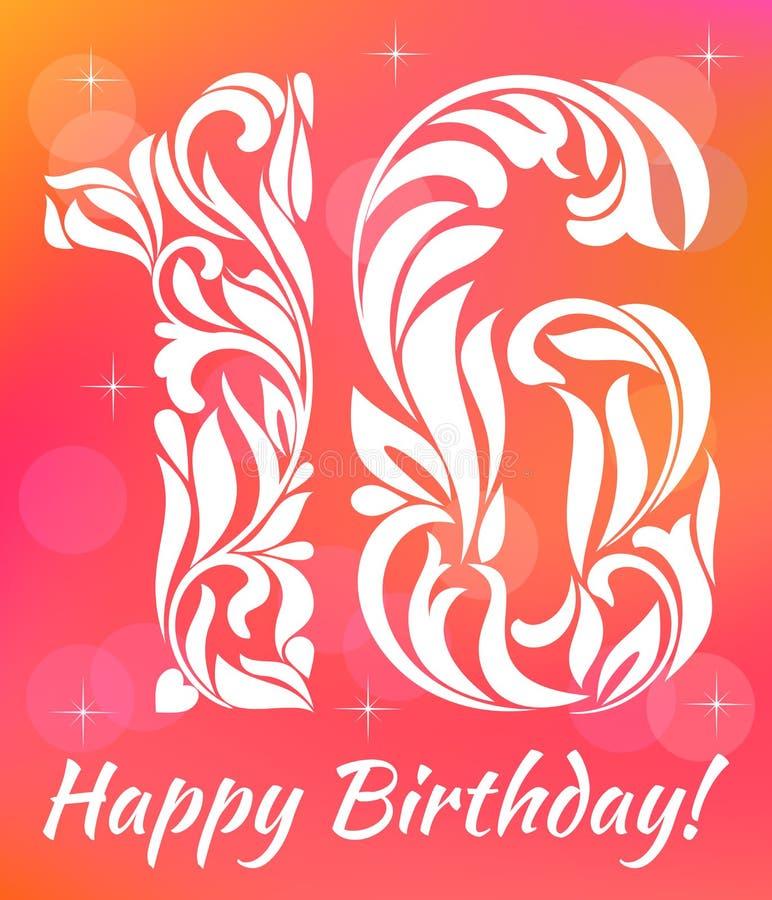 Modello luminoso dell'invito della cartolina d'auguri Celebrando 16 anni di compleanno Fonte tipografica decorativa illustrazione vettoriale