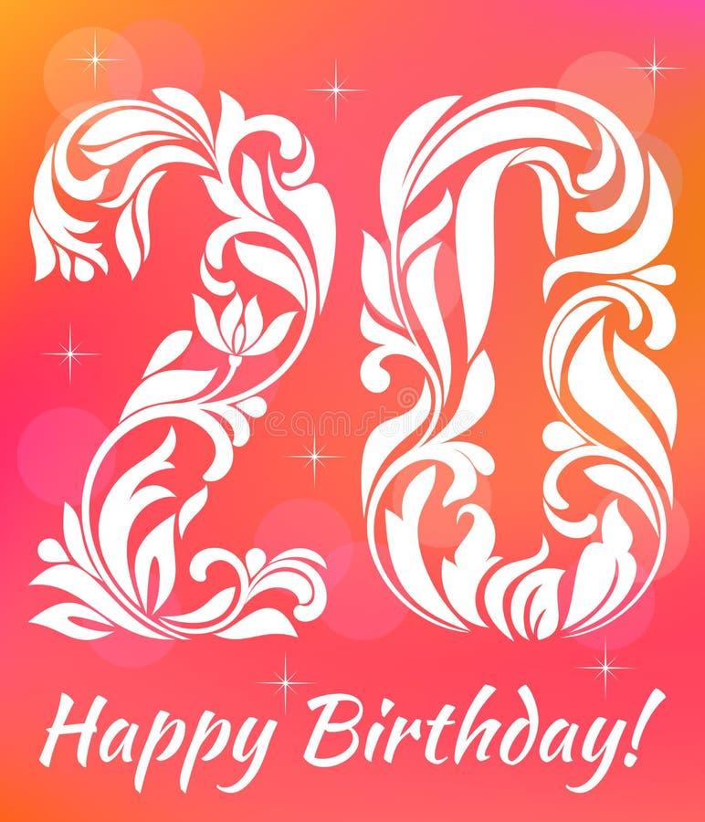 Modello luminoso dell'invito della cartolina d'auguri Celebrando 20 anni di compleanno Fonte tipografica decorativa illustrazione vettoriale