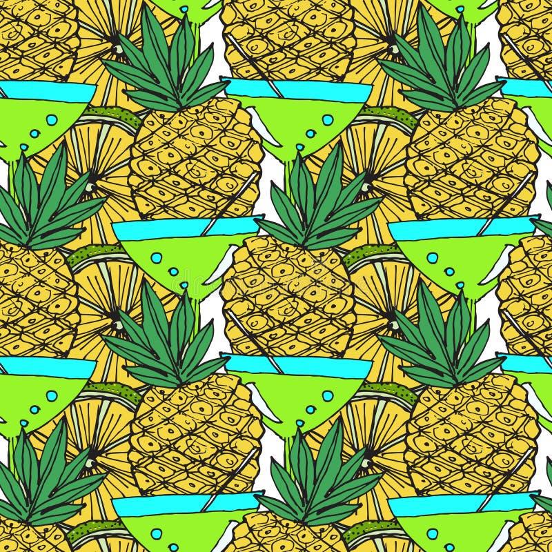 Modello luminoso della frutta con i cocktail e gli ananas royalty illustrazione gratis