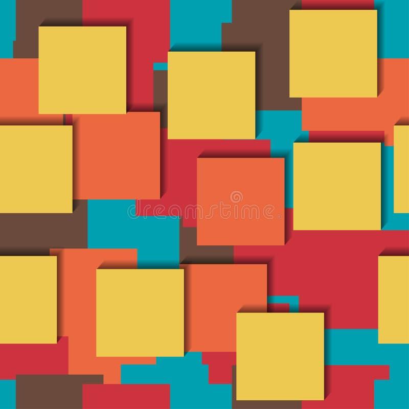 Modello luminoso variopinto di vettore senza cuciture Autoadesivi di carta, cinque colori che si trovano su a vicenda illustrazione di stock
