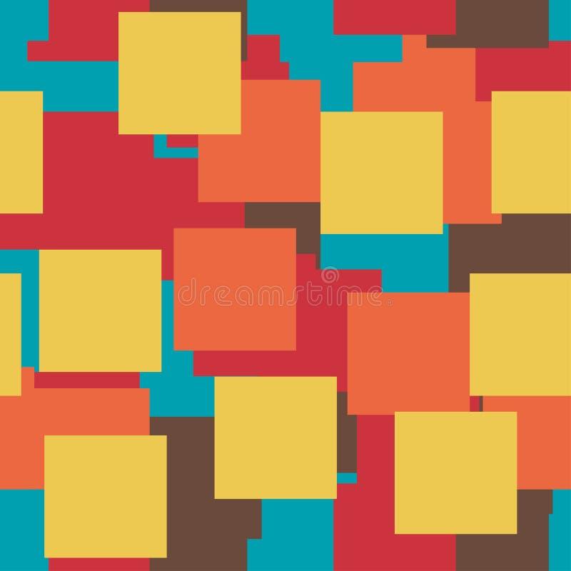 Modello luminoso variopinto di vettore senza cuciture I quadrati di carta di cinque colori che si trovano su a vicenda illustrazione vettoriale