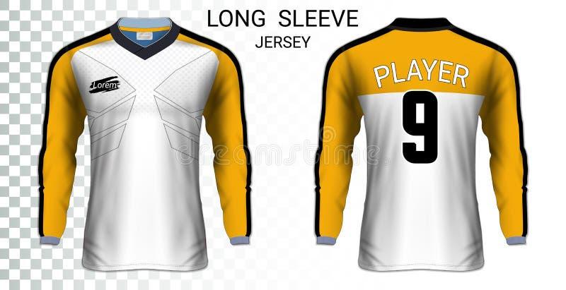 Modello lungo del modello delle magliette del pullover di calcio della manica royalty illustrazione gratis