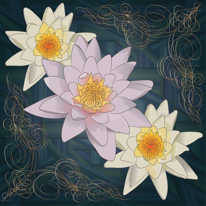 Modello lussuoso dell'oro dei fiori di loto e delle onde stilizzate su un fondo blu scuro illustrazione di stock