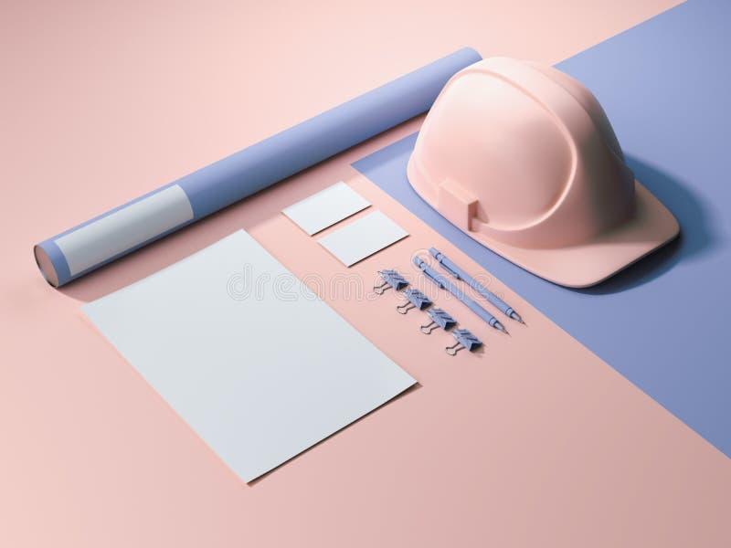 modello marcante a caldo Blu-rosa con i fogli bianchi, la busta ed il casco rappresentazione 3d royalty illustrazione gratis