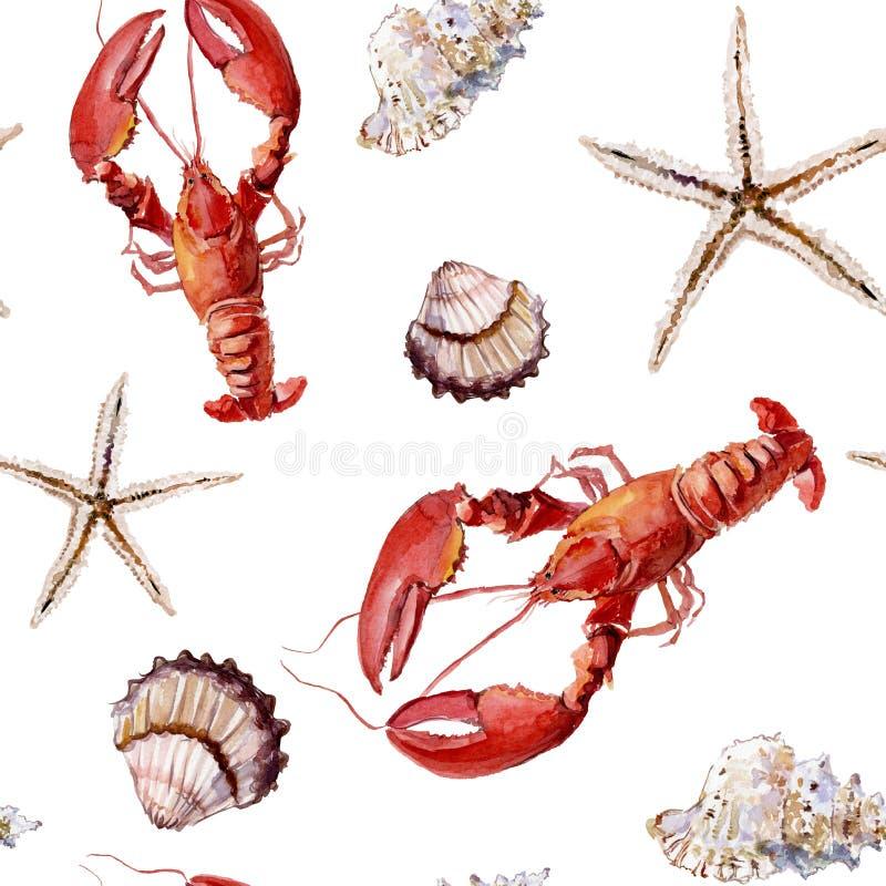 Modello marino senza cuciture con il gambero, le coperture e le stelle marine su wh illustrazione vettoriale