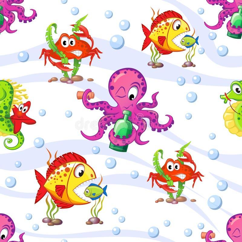 Modello marino senza cuciture con il polipo, le stelle marine, l'ippocampo, il granchio ed il pesce royalty illustrazione gratis