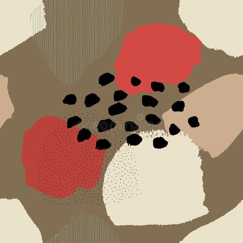 Modello marrone senza cuciture astratto contemporaneo del collage illustrazione vettoriale