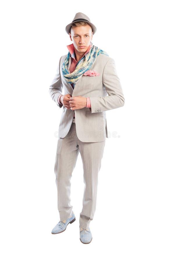Modello maschio alla moda che porta vestito, sciarpa e cappello grigi immagini stock