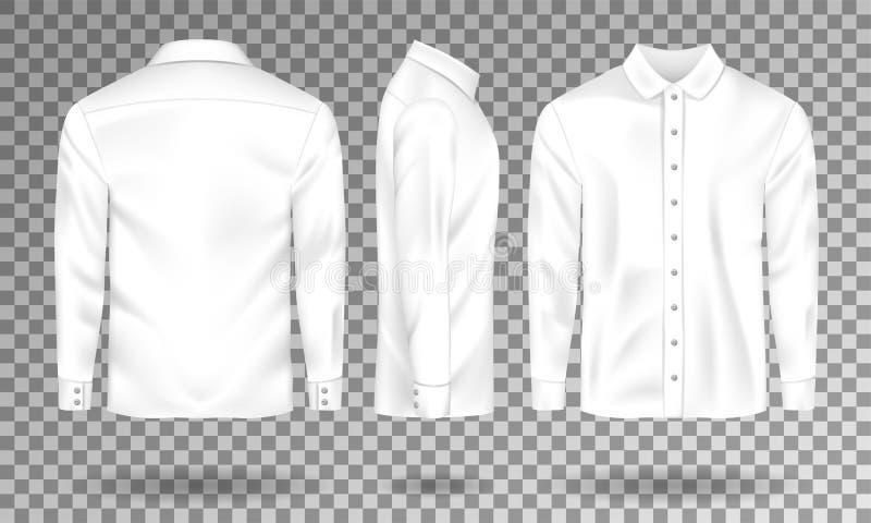 Modello maschio in bianco della camicia La camicia realistica degli uomini s con le maniche lunghe fronteggia, parteggia, vista p illustrazione vettoriale