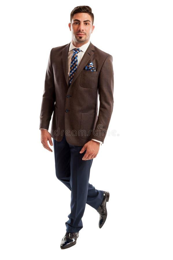 Modello maschio della brunetta che indossa vestito elegante ed alla moda immagine stock
