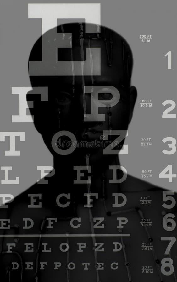 Modello medico di agopuntura dell'essere umano sul grafico di prova di vista fotografia stock libera da diritti