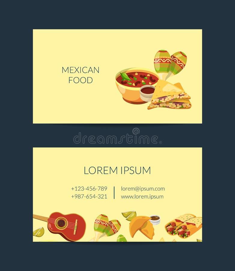 Modello messicano della carta di industria alimentare del fumetto di vettore per cucina messicana illustrazione di stock