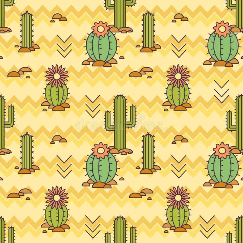 Modello messicano di vettore dei cactus Illustrazione lineare Fondo di vettore illustrazione di stock