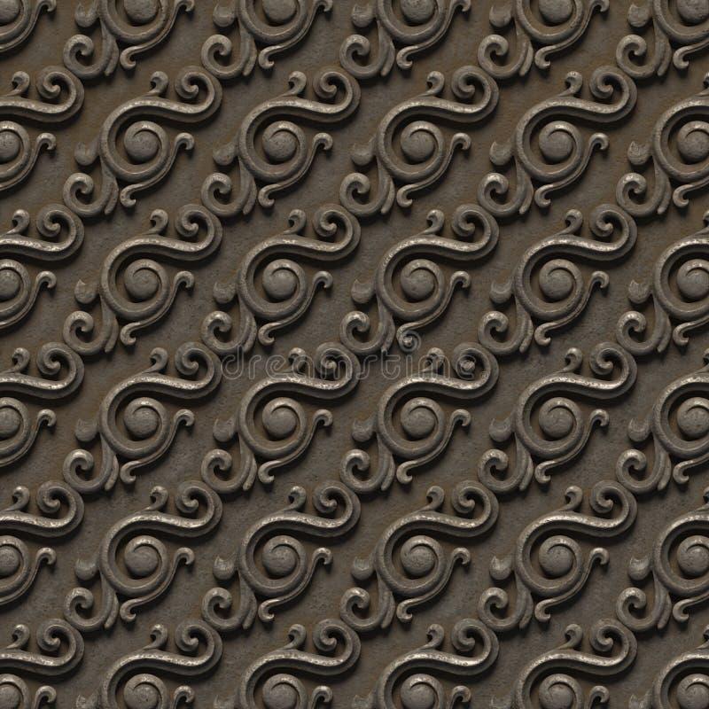 Modello metallico bassorilievo delle strutture senza cuciture, consistente di vari elementi degli ornamenti architettonici e deco fotografia stock libera da diritti